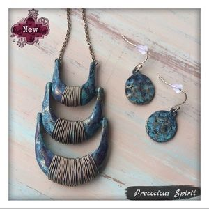 Patina hammered wire wrap tiered necklace earrings